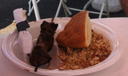 "Lamb Kabob, ""Pilaf,"" and bread. Wasn't too keen on the sesame seeds though lol."