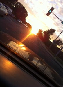 The sun sets as I drive to get Grand baby.  It was huge today.  I love when its like that.