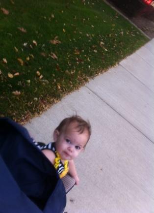 Peeking at Grandma while strolling